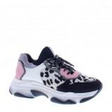 Afbeelding van Bronx Baisley Dalmation leren chunky sneakers roze