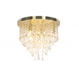 Image de Art Deco Ceiling Lamp 35cm Brass with Crystal Beads Medusa
