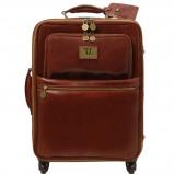 Bilde av 4 Wheels vertical leather trolley Brown