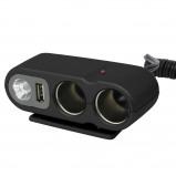 Afbeelding van Carpoint 12 Volt 2 Weg Stekker met USB & LED lamp