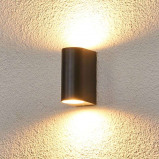 Afbeelding van Aan beide zijden stralende buitenwandlamp Palina, Lampenwelt.com, aluminium, glas, GU10, 28 W, energie efficiëntie: A++, B: 6.7 cm, H: 14.5 cm
