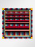 Imagem de Vlisco Scarf stripe red 128x128cm Blue/Red/Yellow African print fabric Silk Scarves Geometrical