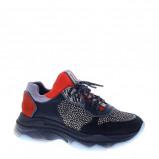 Afbeelding van Bronx Baisley Stingray leren chunky sneakers zwart/oranje
