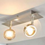 Afbeelding van 2.lamps LED plafondlamp Pablos met glazen lenzen, Lampenwelt.com, voor woon / eetkamer, metaal, aluminium, roestvrij staal, glas, 4.2 W, energie efficiëntie: A+, L: 28 cm, B: 7.5 H: 13 cm