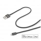 Afbeelding van Celly Lightning naar USB Kabel Textile 1 Meter MFI Black