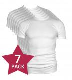 Afbeelding van 7 pack Beeren t shirt korte mouw ronde hals wit.