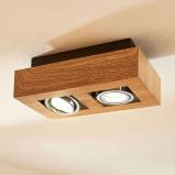Afbeelding van 2 lamps LED spot Vince, houtkleuren, Lampenwelt.com, voor hal, metaal, aluminium, GU10, 5 W, energie efficiëntie: A++, L: 25 cm, B: 14 cm, H: 8.5 cm