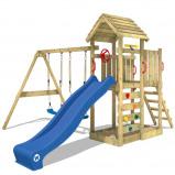 Abbildung von Fatmoose Spielturm mit Doppelschaukel und Holzdach MultiFlyer
