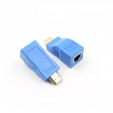 """Bilde av """"2stk. 1080P HDMI ekstender til RJ45 over Cat 5e/6 Nettverks adapter lyse blå"""""""