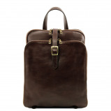 Image de 3 Compartments leather backpack Dark Brown