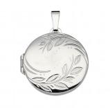 Afbeelding van Best Basics 145.0040.00 Zilveren Hanger Medaillon Rond met Bladmotief