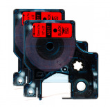 Image of Rabat! 2 stk. Dymo 45017 standardtape D1 sort på rød 12mm x 7m Dymo 45017 kompatibel