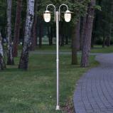Afbeelding van 2 lichts lantaarnpaal Mian van roestvrij staal, Lampenwelt.com, glas, E27, 60 W, energie efficiëntie: A++, B: 70 cm, H: 200 cm
