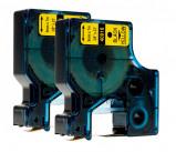 Bild av 2 stk. Dymo 40918 standardtape D1 svart på gul 9mm x 7m kompatibel