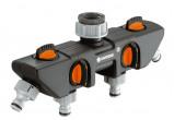 Afbeelding van GARDENA Waterverdeler 4 kanalen zwart en oranje 8194 20