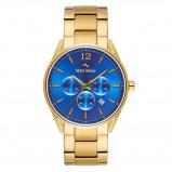 Afbeelding van Mats Meier Grand Cornier chronograaf heren horloge blauw/goudkleurig staal