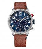 Afbeelding van Tommy Hilfiger TH1791066 Trent horloge herenhorloge Blauw,Bruin,Rood,Wit,Zilverkleur