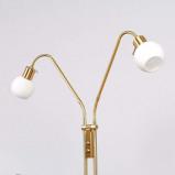 Afbeelding van 2 lichts LED vloerlamp Elaina, messing, Lampenwelt.com, voor woon / eetkamer, metaal, glas, E14, 4 W, energie efficiëntie: A+, H: 150 cm