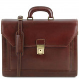 Bilde av 2 compartments leather briefcase with front pocket Brown