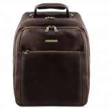 Image de 3 Compartments leather laptop backpack Dark Brown