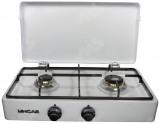 Afbeelding van 2 vlams komfoor met deksel butaan beveiligd wit ge mailleerd, 1.6kw, 2.3 kw