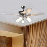 Afbeelding van 5 vleugel plafondventilator Cedrik, Lampenwelt.com, voor woon / eetkamer, mdf, glas, metaal, E14, 40 W, energie efficiëntie: A++, H: 49.5 cm