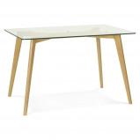 Afbeelding van ALTEREGO Kleine tafel / bureau recht 'BUGY' van glas 120x80 cm