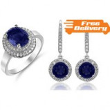 Image of 18K Gold Plated Brilliant Cut Blue Simulated Sapphire Stud Earrings Free Delivery!