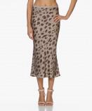 Image of ANINE BING Bar Silk Printed Skirt Beige Leo