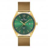 Afbeelding van Mats Meier Castor heren horloge groen/goudkleurig mesh