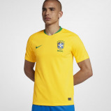 Image of 2018 Brazil CBF Stadium Home Men's Football Shirt Gold