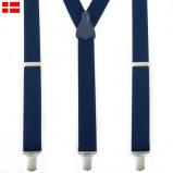 Billede af 140 cm Y seler XXL Navy Klassiske Brede 3 Clips