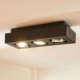 Afbeelding van 3 lamps GU10 LED plafondlamp Vince, zwart, Lampenwelt.com, voor hal, aluminium, GU10, 5 W, energie efficiëntie: A++, L: 36 cm, B: 14 cm, H: 8.5 cm