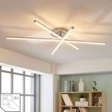 Afbeelding van 3.lamps LED plafondlamp Korona, dimmer, Lampenwelt.com, voor woon / eetkamer, metaal, acryl, 8 W, energie efficiëntie: A+, L: 100.3 cm, B: 80.8 H: 10.5 cm