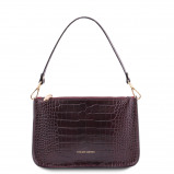 Imagine din Croc print leather clutch handbag Bordeaux