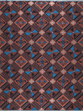Imagine din Vlisco VL00014.301.06 Blue/Brown African print fabric Limited Editions Geometrical