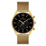 Afbeelding van Mats Meier Grand Cornier chronograaf heren horloge zwart/goudkleurig mesh