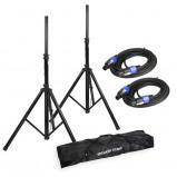 Image of Adam Hall SPS 023 SET 2 Speaker Stand Set + Speaker Cables & Transport Bag