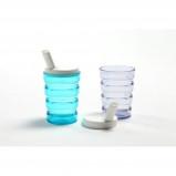 Afbeelding van Adhome 1 Rillenbeker met 2 drinktuitjes 200 ml transparant wit