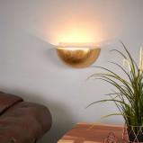 Afbeelding van Aantrekkelijke wandspot Gesa in goud, Lampenwelt.com, voor woon / eetkamer, gips, metaal, E14, 40 W, energie efficiëntie: A++, B: 28 cm, H: 13 cm