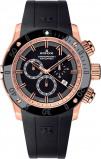 Afbeelding van Edox 10221 37R NIR herenhorloge zwart edelstaal PVD rosé