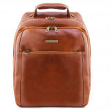 Image of 3 Compartments leather laptop backpack Honey