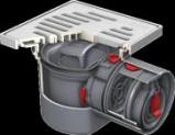 Billede af ACO Junior kælderafløb m/hv.lukke 110mm, m/ 2 klapper, vandlås og grå plastrist