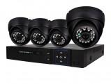 Afbeelding van Beveiligingscamera set met 4x bekabelde Dome Camera's