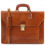 Image of 2 compartments leather briefcase with front pocket Honey