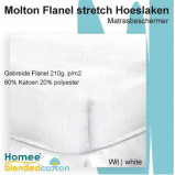 Afbeelding van Bedworld Collection 160x210 Molton Flanel Stretch Hoeslaken 210g. p/m2 Wit