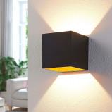 """Image of """"LW Schwarze LED wall lamp Aldrina,"""" innen goldfarben """""""