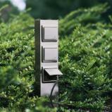 Afbeelding van Albert Leuchten 3 voudige stopcontactenzuil roestvrij staal, gegoten aluminium, B: 10 cm, H: 50 cm