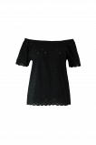 Afbeelding van FSTVL by MS Mode Dames Off shoulder top met broderie Zwart
