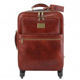 Image of 4 Wheels vertical leather trolley Brown